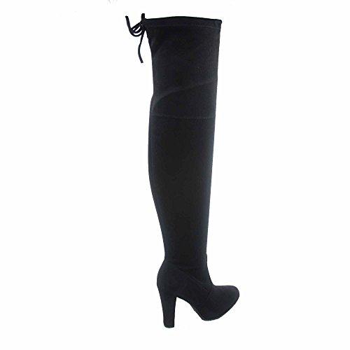 Voor Altijd Link Dasia-h1 Damesmode Sexy Trek Amandel Teen Over De Knie Dikke Hiel Laarzen Schoenen Zwart