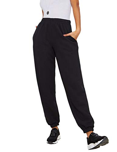 SOMTHRON Women's High Rise Cropped Slim Fit Training Pants High Elastic Waist Straight Leg Sweatpants Joggers(BL-S) Black