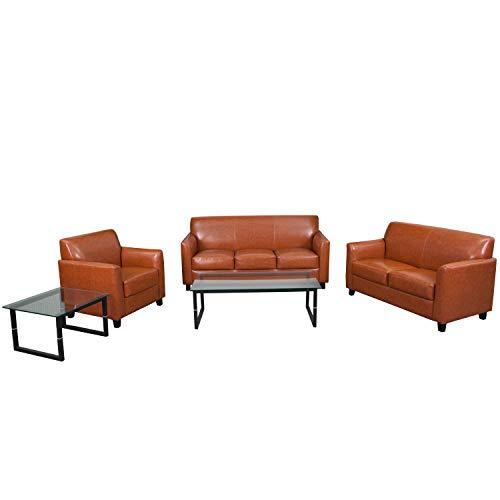 Flash Furniture HERCULES Diplomat Series Reception Set in Cognac from Flash Furniture