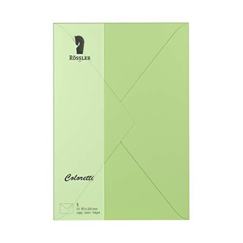 (Rössler COLORETTI Envelopes C580g/m² Pack of 5) Peppermint)