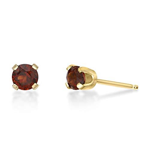 .60 CT Round 4MM Red Garnet 14K Yellow Gold Women Stud Birthstone Earrings