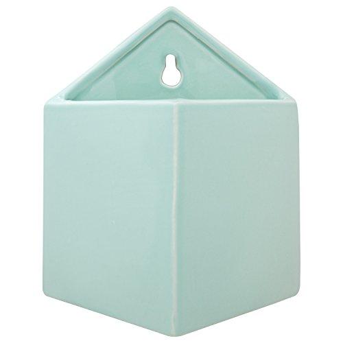 Rivet Modern Pyramid-Shaped Earthenware Hanging Indoor Wall Planter Pot, 7.5 Inch Height, Aqua