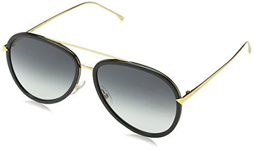 Fendi Women's Funky Angle Aviator Sunglasses, Black Gold/Grey, One - Sunglasses Black Logo Luxury
