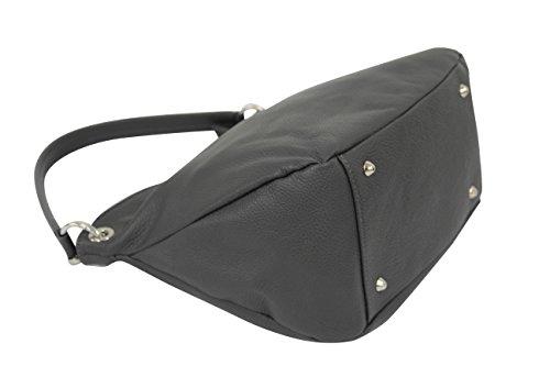 Shopper Sac GL002 main Moda Sac à bandoulière gris cuir foncé Ambra véritable en qSO88F