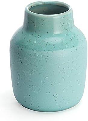 Symmetric Matrix Ceramic Vase For Home Decor Teal Flower Vases For Shelf Mantle Or Table Elegant Living Room Decorations For Tables Decorative Home Accents And Unique Centerpieces Amazon Sg Home