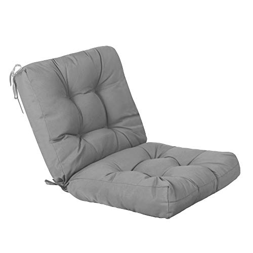QILLOWAY Outdoor Seat/Back Chair Cushion Tufted Pillow, Spring/Summer Seasonal Replacement Cushions. (Grey) (Summer Furniture Cushions)