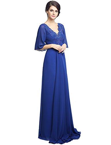 Del Abito Elegante Pizzo Chiffon Casa Madre Vestito Navy Sera Belle Sposa Blu Formale Da 8A0IqwW