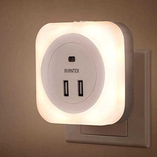 Jerrybox LED Night Light Plug-and-Play Automatic Wall Lights with Dusk to Dawn Sensor and Dual USB Ports