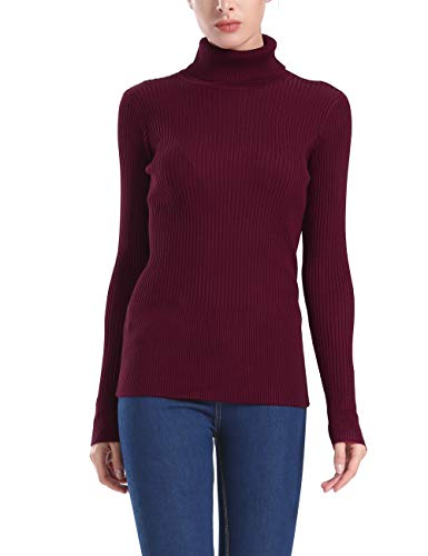 Rocorose Women's Ribbed Knit Pullover Long Sleeves Turtleneck Slim Fit Winter Sweater Wine Red S
