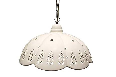 lámpara de Techo con pantalla de cerámica blanca Perforada y ...