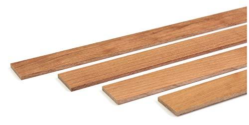 wodewa - Liston de madera de cerezo engrasado, 1 m, 30 x 4 mm, moldura decorativa para revestimientos de pared, para cubrir el suelo, DIY manualidades