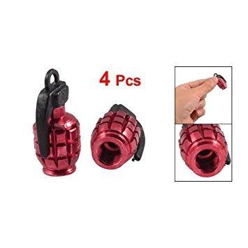 SODIAL 4 x Bouchon de valve du pneu de voiture solide en forme de grenade en alliage Rouge R