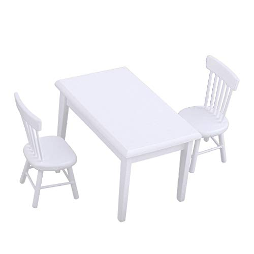 Broadway Dining Room Set - NATFUR Dollhouse Dining Room Kitchen Furniture White Dining Table Chairs Set 1/12