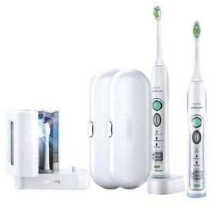 Philips Sonicare FlexCare White Premium Whitening Edition 2 Pack Bundle (2 FlexCare Whitening Edition Handles, 2 DiamondClean Brush Heads, 1 UV Sanitizer and Charger, 1 Compact Travel Charger, 2 Hygenic Travel Caps, 2 Hard Travel Cases) by Philips (Image #2)
