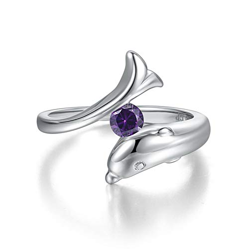 FENDINA Cute Dolphin Rings for Girls Platinum Plated Tiny CZ Charming Elegant Christmas Jewelry Gift Purple Size 7