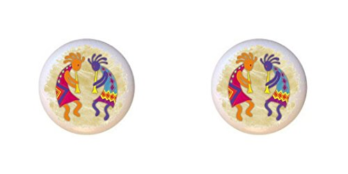 SET OF 2 KNOBS - Kokopelli - Southwest Southwestern - DECORATIVE Glossy CERAMIC Cupboard Cabinet PULLS Dresser Drawer (Kokopelli Cabinet Knob)