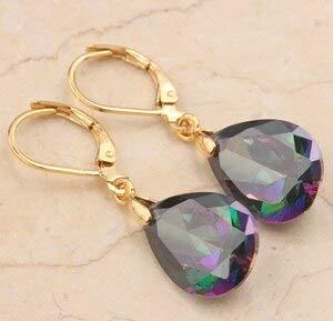 (Rainbow Garnet Onyx Hot Multi Gems 925 Sterling Silver Drop Dangle Earring Woman S0001 (Rainbow Gold))