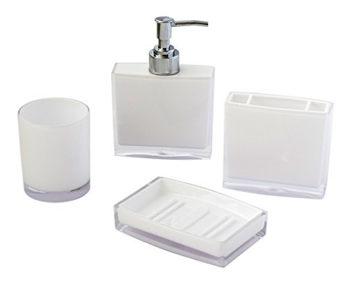 4-piece Complete Bathroom Accessory Set, Translucent White Toiletries Organizer, Tumbler Soap Dispenser Toothbrush Holder Soap Dish Included, Durable Rustproof Acrylic, Modern Home Decor - A COMPLETED ESSENTIAL BATHROOM ACCESSORY SET - 4 pieces acrylic bathroom accessory set features 1 lotion/liquid soap dispenser with plastic pump; 1 three-hold toothbrush holder; 1 tumbler ; 1 soap dish. A package includes all what you need A FULLY FUNCTIONAL YET DECORATIVE SET - Organizing your bathroom with this essential bathroom accessory set, comes with the items you need to keep your toiletries tidy in place. DURABLE AND EASY TO USE - Quality acrylic made to make the set durable to use for a long time. Easy access to your toiletries by just a simple grab with all organized. - bathroom-accessory-sets, bathroom-accessories, bathroom - 3136H8v4oyL -