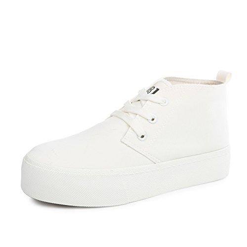 Encaje otoño Hi-mujeres/Mujeres de los zapatos de lona suela gruesa torta/Onda de zapatos simple estudiante casual de color sólido A
