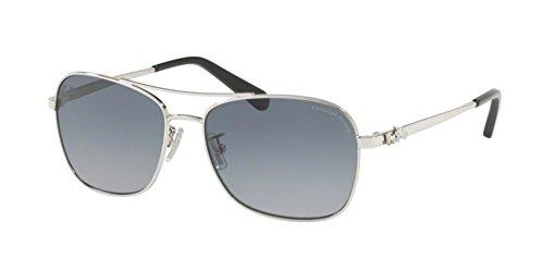 Coach Womens Sunglasses Silver/Blue Metal - Polarized - 55mm