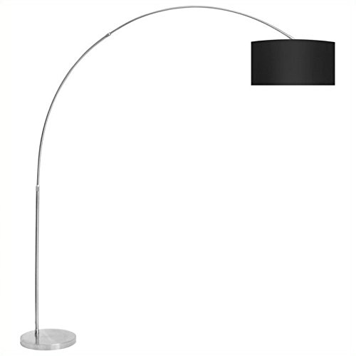 Lumisource Black Floor Lamp (WOYBR LS-L-SALFLR BK Fabric Shade, Brushed Steel, Salon Floor Lamp)