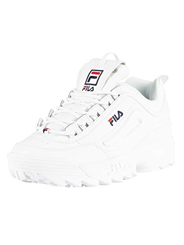 Patent Men Sneakers - Fila Women's Disruptor II Premium Patent Sneakers, White/Fila Navy/Fila Red, 9 UK