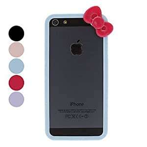 CeeMart Solid Color PC Bumper with bowknot for iPhone 5/5S - Black by ruishername