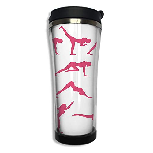 Travel Coffee Mug 3D Printed Portable Vacuum Cup,Insulated Tea Cup Water Bottle Tumblers for Drinking with Lid 14.2oz(420 ml)by,Yoga,Pink Women Silhouettes in Different Yoga Positions Flexibility Aero
