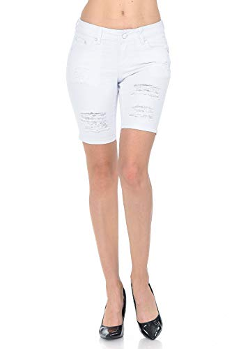 Shamaim Womens Mid Rise Ripped Basic Five Pocket Capri Jean Size 11 White