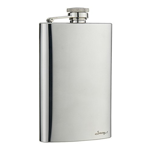 Savage 8oz Hip Flask 18/8 Stainless Steel in Mirror Finished by Savage