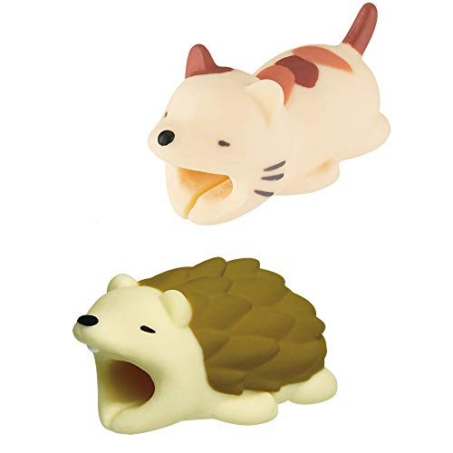 TureLaugh 2 Pack Cable Bites Animals, Phone Cable Protector Cord Saver Cute Animal Phone Accessory Cable Accessory Creative Gift Prime (Cat+Hedgehog)