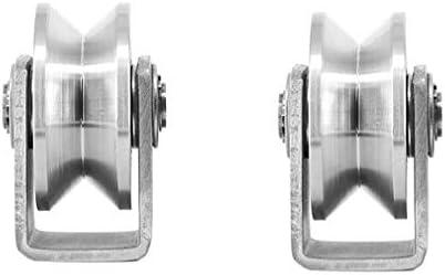 V79-12 acero con ranura V, 79 mm de di/ámetro, eje de 12 mm Juego de 2 ruedas de polea para puerta corredera