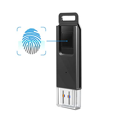 - KOOTION 32GB Fingerprint Encrypted Flash Drive USB3.0 Thumb Drive Dual Storage Security,Black