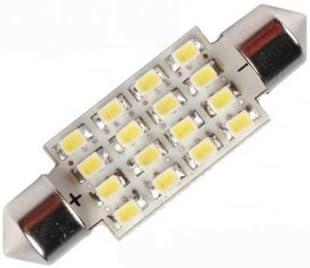 DE440 Bright LED 16 SMD Blanc Ampoule Dome navette voiture 40 mm 5050 6429 12844 M/élange