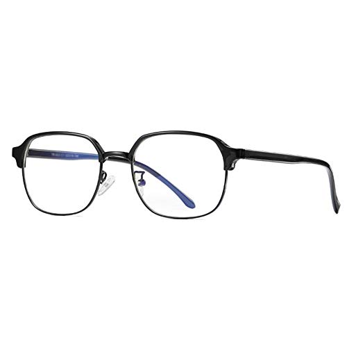 JHHXW Anti-Blu-ray Glasses, UV Protection, Low Color Difference, TR90+ Metal, Computer Glasses, Ultralight, Folding, Flat Mirror, Unisex,Black