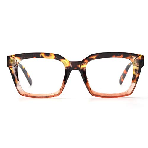 Retro Oprah Style Square Reading Glass Big Eyeglass Frames Large lens 50mm (Leopard, 0.0) ()