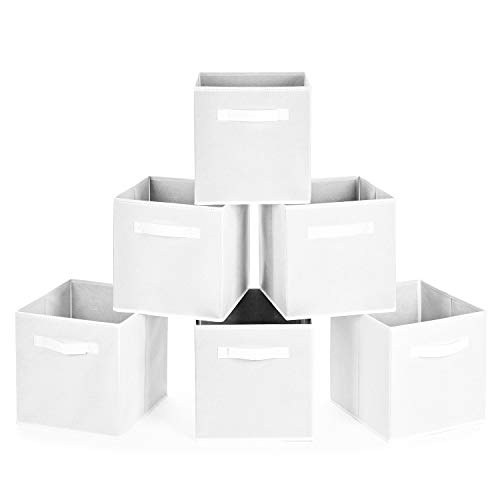 MaidMAX Collapsible Storage Bins, Set of 6 Foldable Fabric Storage Cubes Containers Organizers Basket with Dual Handles for Home, Office, Nursery, White
