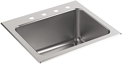 KOHLER K-5798-4-NA Ballad 25-Inch x 22-Inch Top-Mount Utility Sink with 4 Faucet Holes, Stainless Steel by Kohler