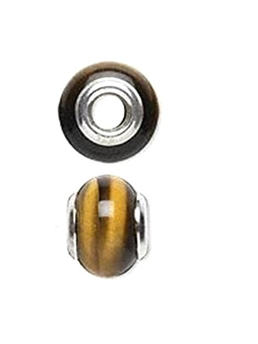 Slide-on Bead Charm Tiger Eye Sterling Silver 4mm Center Hole (Sterling Eye Tiger Silver Bead)