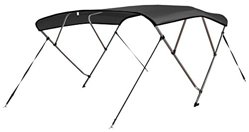 - Leader Accessories 4 Bow Bimini Tops Boat Cover 4 Straps for Front and Rear Includes Hardwares with 1 Inch Aluminum Frame (Dark Grey, 8'L x 54