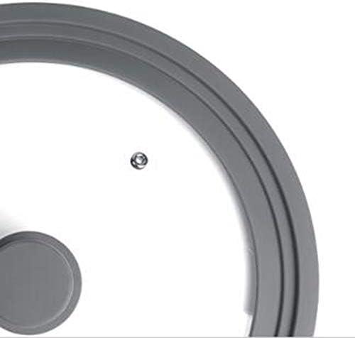 Couvercles de Casserole,Protection Anti-éclaboussures,avec Une vanne de Sortie et Un Bord en Silicone Diamètres - pour casseroles et poêles Silicone Glass Cover - C
