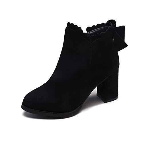 HOESCZS Stiefel Damen Woherren Herbst Und Winter Damen Martin Stiefel Dick Mit Spitzen Hochhackigen Schuhe Stiefel Frauen Und Frauen Schuhe