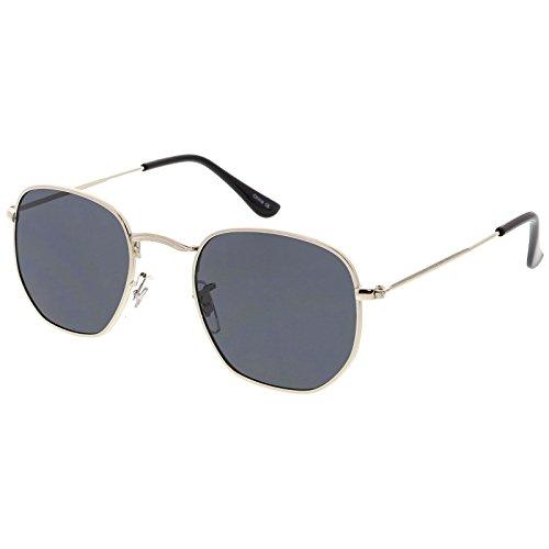 sunglassLA - Modern Geometric Hexagonal Sunglasses Metal Slim Arms Neutral Colored Flat Lens 51mm (Silver / - Hexagon Sunglasses