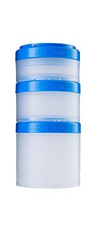BlenderBottle ProStak Twist n Lock Storage Jars Expansion 3-Pak with Pill Tray, Clear/Cyan