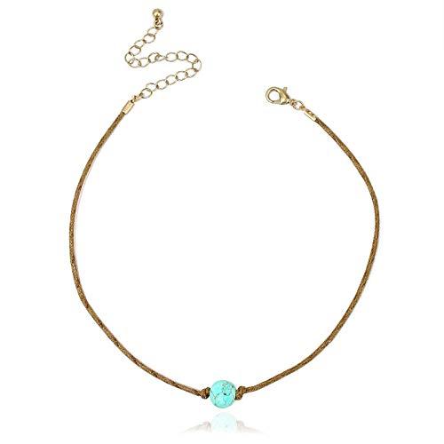 POMINA Semi-Precious Stone Cord Choker Necklaces, 12 inches (-Turquoise) ()