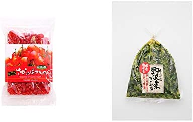 [2点セット] 収穫の朝 さくらんぼグラッセ ラム酒風味(180g)・国産 昔ながらの野沢菜きざみ漬け(150g)