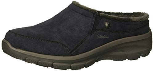 Skechers Women's Easy Going-Latte-Twin Gore Slip-On Open Back Mule, Navy, 7 M -