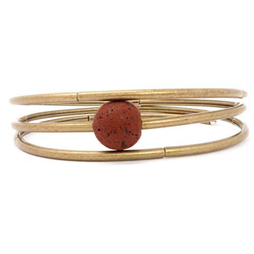 (SatinCrystals Lava Bracelet Boutique Memory Wire Red Rock Essential Oil Diffuser Stone Antiqued Coil B02)