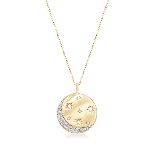 Ross-Simons 0.10 ct. t.w. Diamond Moon and Star Disc Pendant Necklace in 18kt Gold Over Sterling (Diamond Moon Necklace)