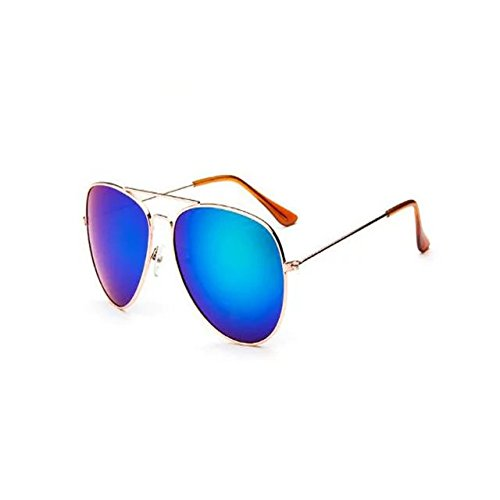 Garrelett Retro Classic Outdoor Sunglasses Reflective Sun Eyewear Eyeglasses Gold Metal Frame Coating Lens for Men - Ban Ray Shades Online